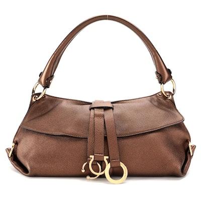 Salvatore Ferragamo Gancini Wrap Ring Shoulder Bag in Bronze Metallic Leather