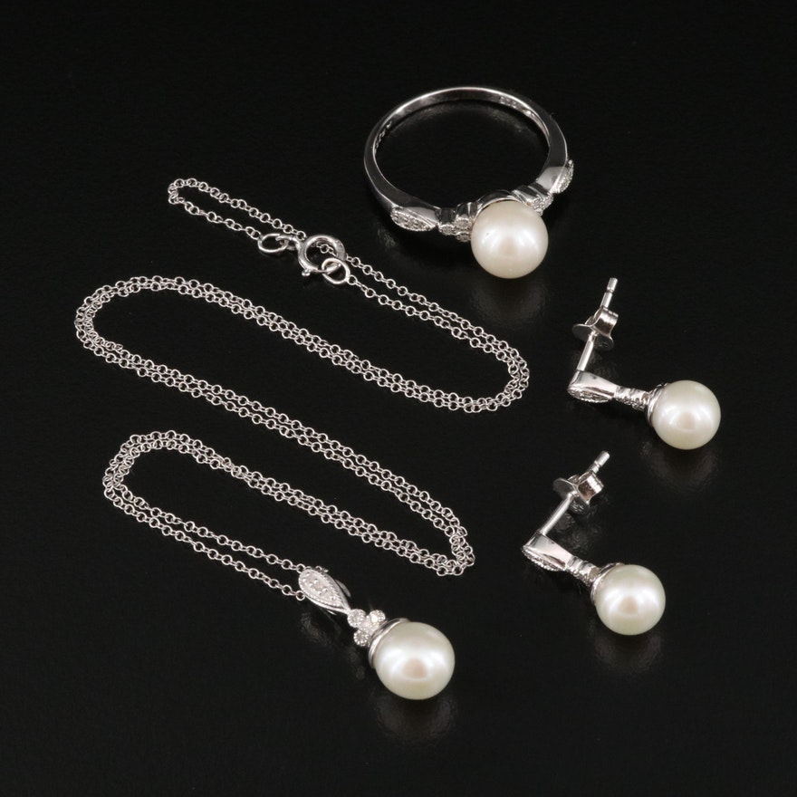 Sterling Silver Pearl and Diamond Jewelry Set