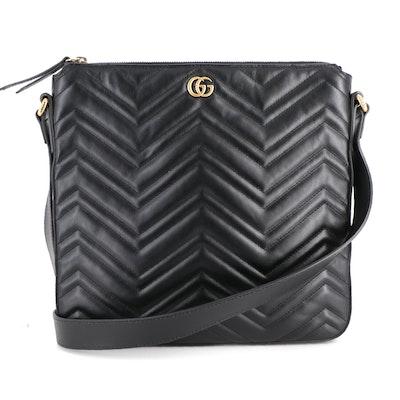 Gucci GG Marmont Black Matelassé Leather Crossbody