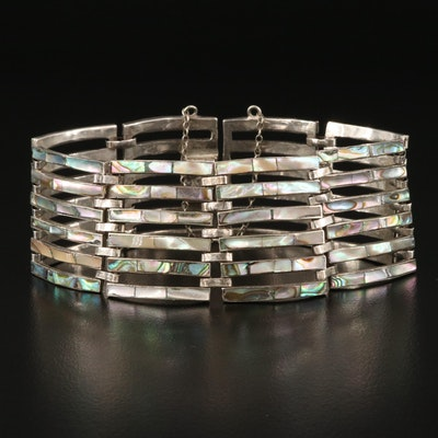 Mexican Sterling Silver Abalone Multi-Row Inlay Bracelet