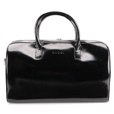 Gucci Bamboo Boston Bag in Black Glazed Leather