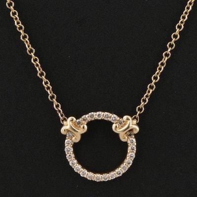 Gabriel & Co. 14K Diamond Circle Pendant Necklace