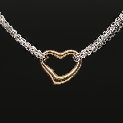 14K Muti Strand Open Heart Pendant Necklace