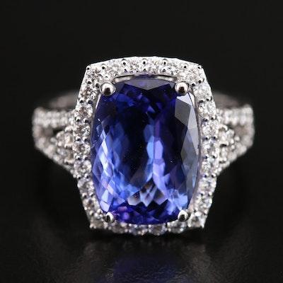 14K 4.87 CT Tanzanite and Diamond Halo Ring