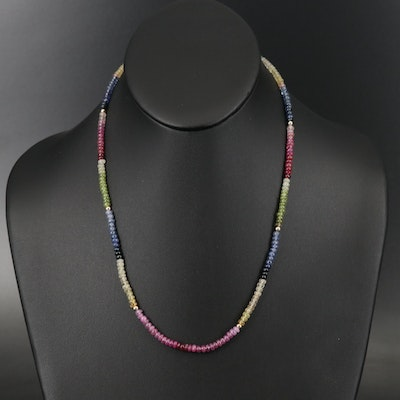 14K Ruby, Sapphire and Emerald Bead Necklace