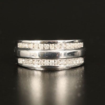 Sterling Silver Double Row Diamond Ring