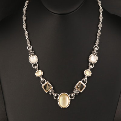 Michael Dawkins Sterling Quartz and Mother of Pearl Necklace