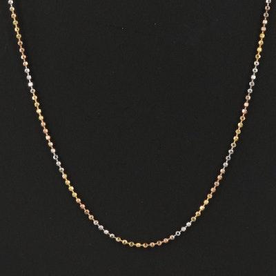 Italian 14K Tri-Color Ball Chain Necklace