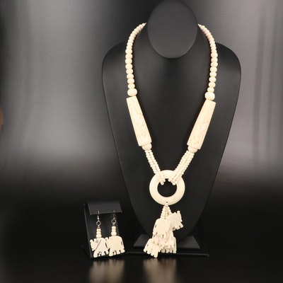 Carved Bone Earrins and Necklace Set Featuring Elephant Design
