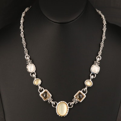 Michael Dawkins Necklace Including Quartz, Mother of Pearl and Citrine