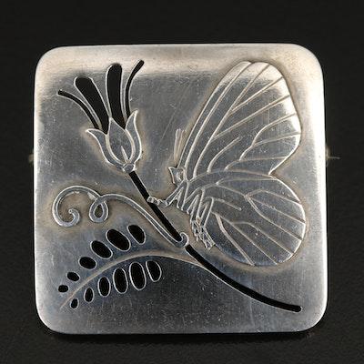 Georg Jensen Sterling Silver Butterfly and Flower Brooch