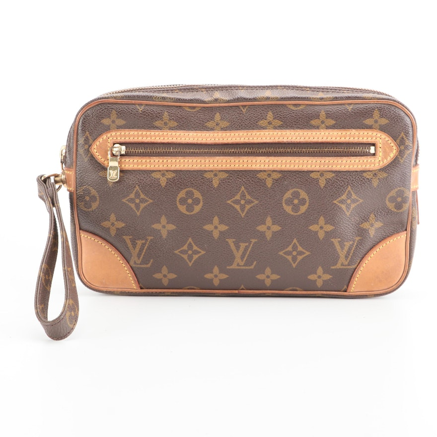 Louis Vuitton Marly Dragonne GM Wristlet Clutch in Monogram Canvas and Leather