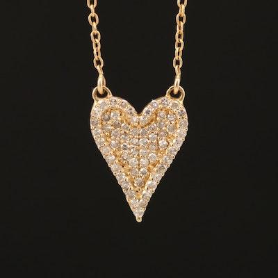 14K Pavé Diamond Heart Necklace