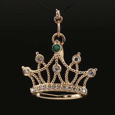 14K Diamond Crown Pendant with Cubic Zirconia Accent