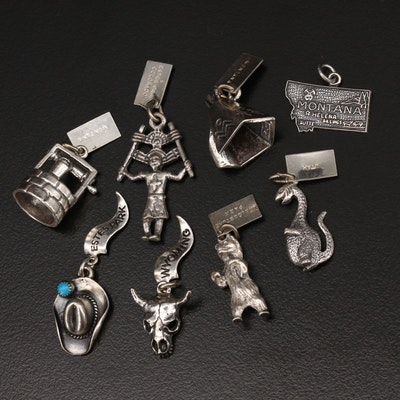 Vintage Western United States Sterling Souvenir Charms
