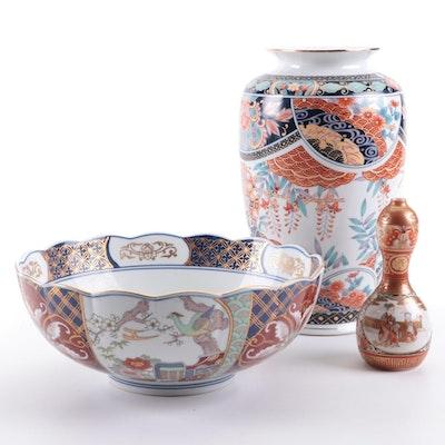 Japanese Imari Style Porcelain and Kutani  Double Gourd Bud Vase