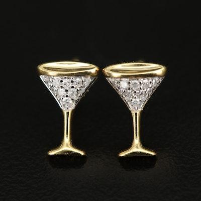 Sterling Pavé Diamond Martini Glass Stud Earrings