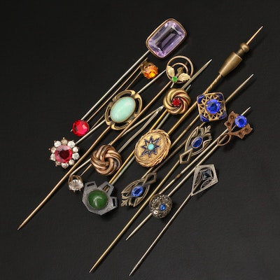 Antique and Vintage Amethyst and Rhinestone Stick Pins