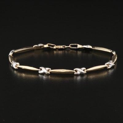 14K Bar and X Link Bracelet