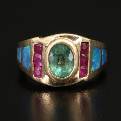 14K Tourmaline, Ruby and Opal Ring