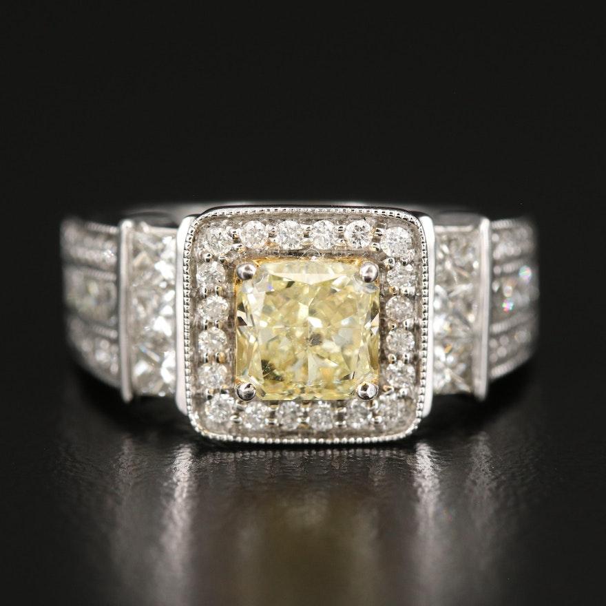 14K 2.34 CTW Yellow Diamond and Diamond Ring