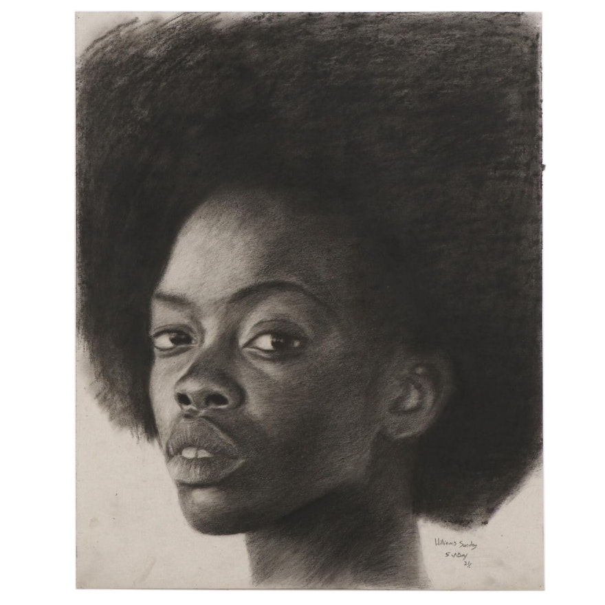 Williams Sunday Charcoal Portrait Drawing, 2021