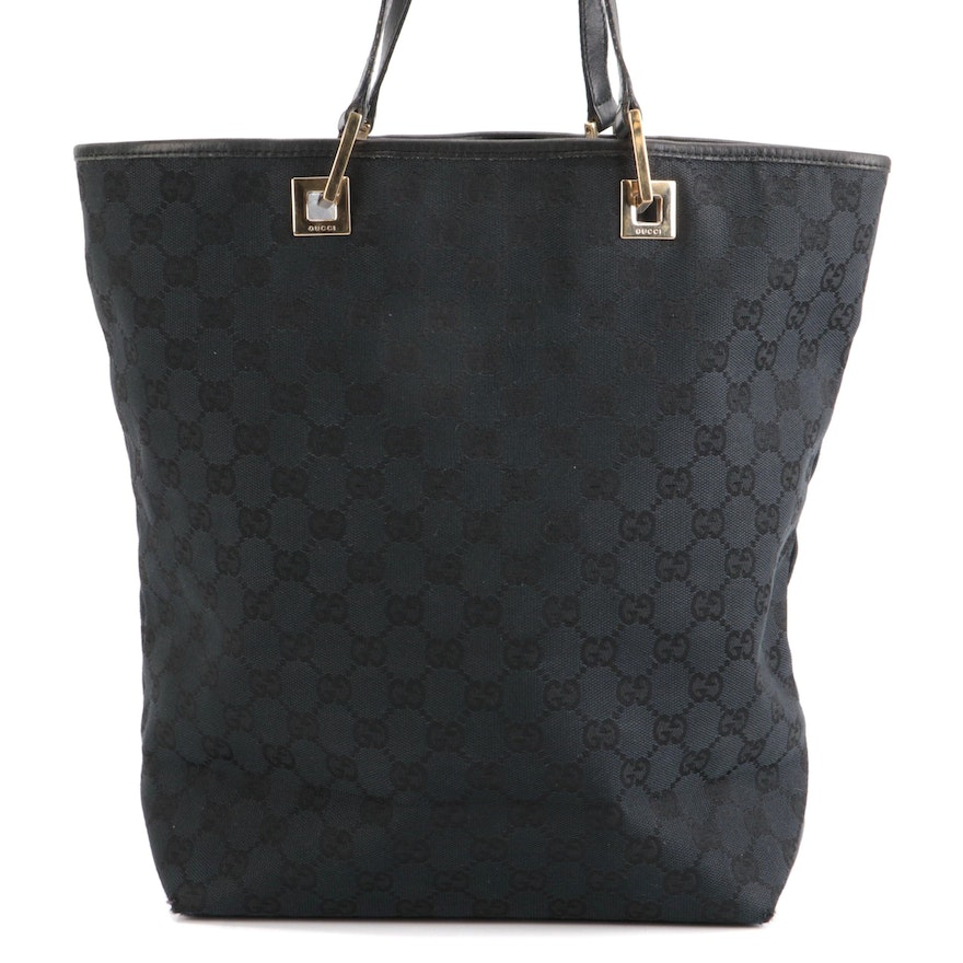 Gucci Black GG Canvas and Leather Tote