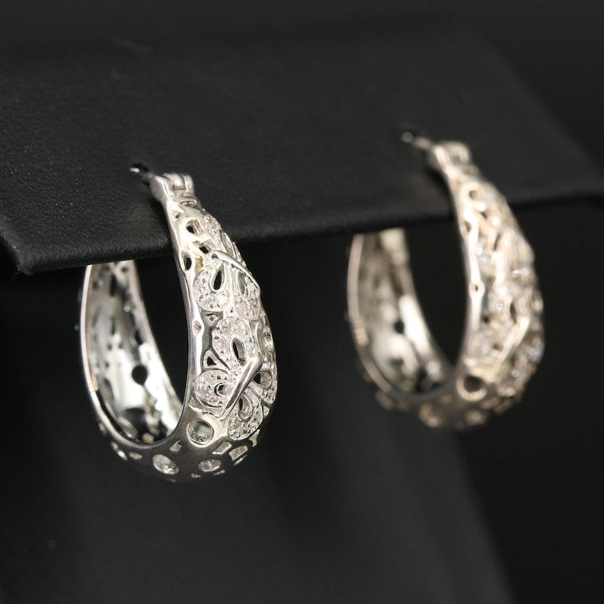 Fine Silver Diamond Butterfly Hoop Earrings