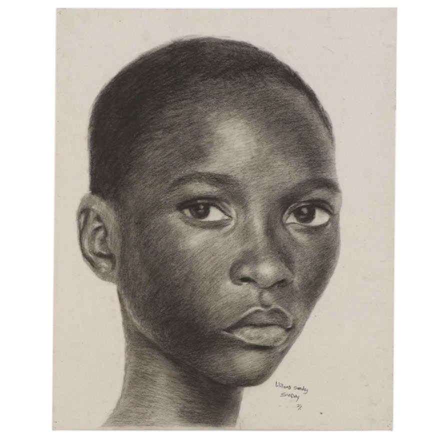 Williams Sunday Young Girl Charcoal Portrait, 2021