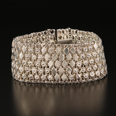 Mexican Sterling Silver Floral Mesh Bracelet
