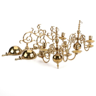 Pair of Brass Wall Mounted Hanging Chandeliers, Mid to Late 20th Century