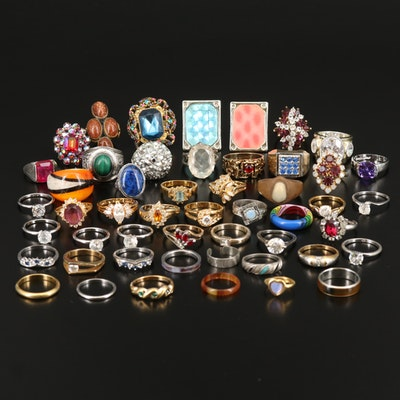 Ring and Band Grouping Including Joseph Esposito, Ruby, Malachite and Goldstone