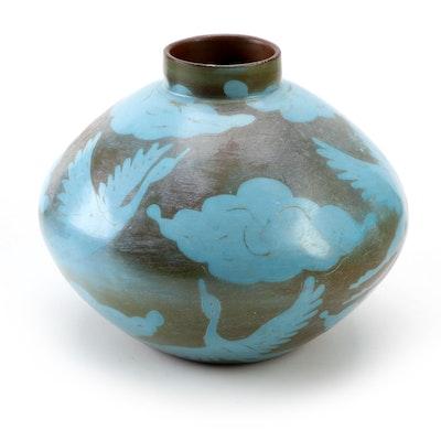 Santodio Paz Juarez Handmade Chulucanas Peruvian Bird Motif Pottery Vase