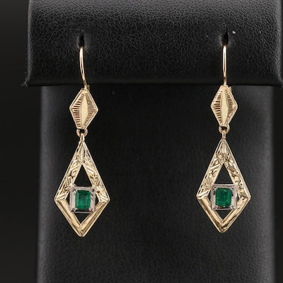 14K Emerald Earrings with Diamond Cut Accents
