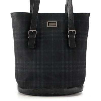 """Burberry """"House Check"""" Nylon Tote with Leather Trim"""