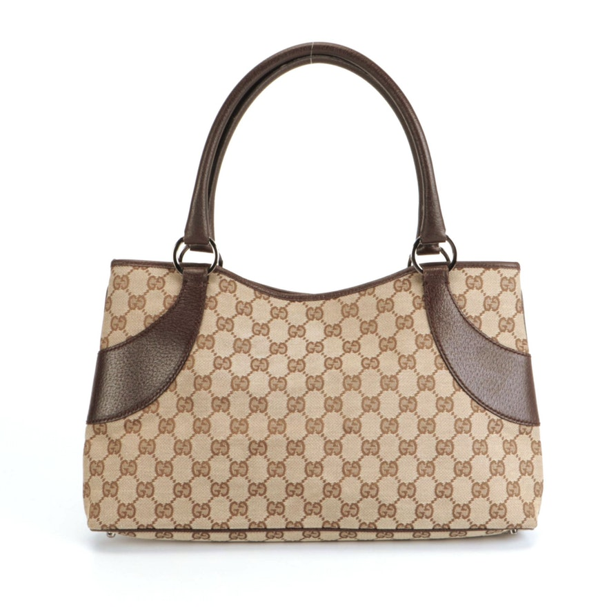 Gucci Shoulder Bag in GG Canvas with Brown Leather Trim