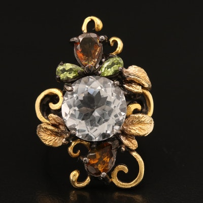 Sterling Rock Quartz Crystal, Citrine and Peridot Foliate Ring