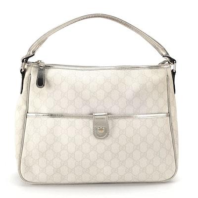 Gucci Joy Hobo Bag in GG Supreme Canvas with Platinum Metallic Leather Trim