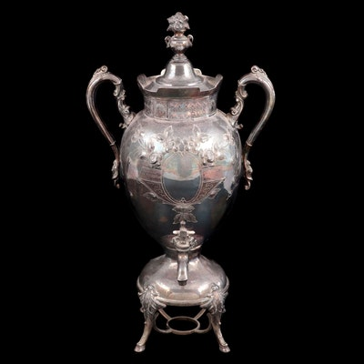 Victorian Chased Silver Plate Hot Water Dispenser, 19th Century