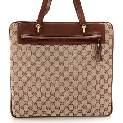 Gucci Tote in GG Canvas and Brown Leather
