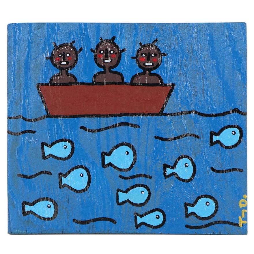 "Tony Dotson Folk Art Acrylic Painting ""Explorers,"" 2020"