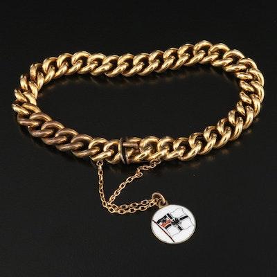 Vintage Curb Chain Bracelet with Antique Enamel German Imperial Flag Charm