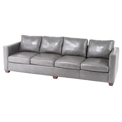 McNabb & Risley Gray Leather Four-Seat Sofa