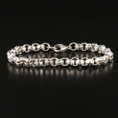 Sterling Silver Textured Rolo Chain Bracelet