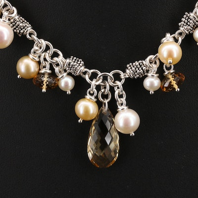 Michael Dawkins Sterling Pearl and Citrine Fringe Necklace