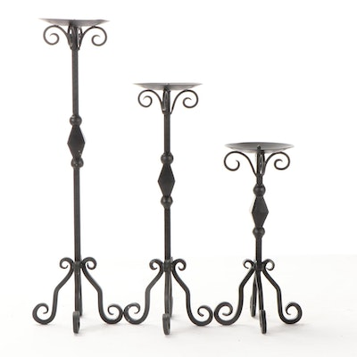 Indian Scrolled Metal Graduated Pricket Candlesticks