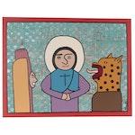 """Tony Dotson Folk Art Acrylic Painting """"Evil Comes in Many Forms"""""""