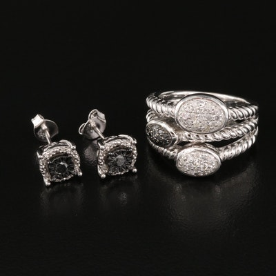 Sterling Silver Diamond Ring and Stud Earrings