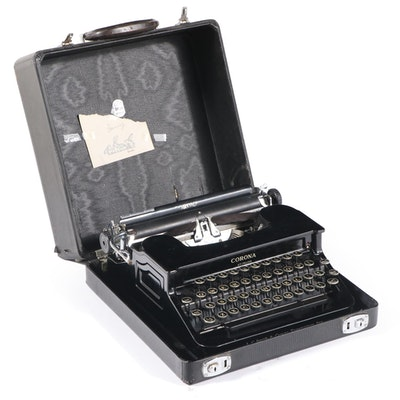 """Smith Corona """"Sterling"""" Typewriter with Travel Case, 1940s"""