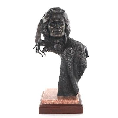 Stephen C. LeBlanc Bronze Sculpture of Native Portrait